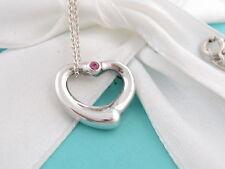Tiffany & Co Peretti Silver Open Heart Pink Sapphire Necklace Box Included