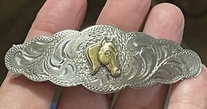 Vintage Signed Diablo Sterling Silver Western Horse Hair Barrette Clip