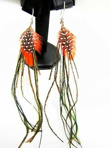 Bird feather earrings in silver