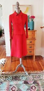 Vintage 50s Jean Patou Suit Red Dress Jacket 60s Paris Party XS Small Jackie O