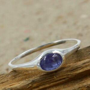Natural Tanzanite Gemstone Midi Band Stacking Womens Ring 925 Sterling Silver