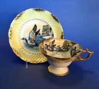 Royal Sealy Pedestal Cup & Saucer - Yellow Luster - Flying Wild Ducks - Japan