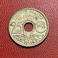 #3822 - RARE -  25 centimes 1939 Lindauer SPL/FDC sortie de rouleau - FACTURE