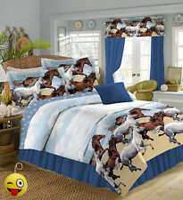 Coastal Beach Pony Horse Blue/Brown Comforter Set & Sheets+Keychain! (No Pillow)