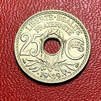 #3853 - RARE - 25 centimes 1939 Lindauer SPL/FDC sortie de rouleau - FACTURE