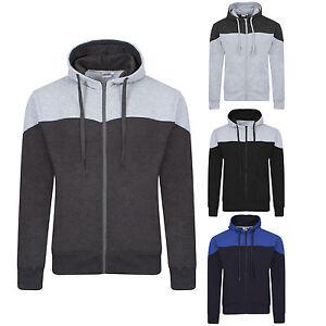 Boys Mens Fleece American Fashion Zipper Hoody contrast yoke Jacket Sweatshirt