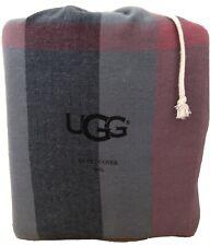 Ugg Winter Flannel Plaid King Size Duvet Cover Denim Blue NWOT