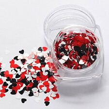 Valentines Nail Art Holographic RED WHITE Heart Shape Spangles 3D Decoration