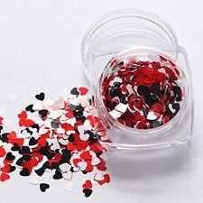 Día de San Valentín Arte en Uñas Holográfico Rojo Blanco Forma de Corazón Decoración Lentejuelas 3D