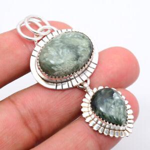 """Seraphinite - Russia 925 Sterling Silver Bali Pendant Jewelry 2.34"""" M158"""