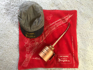 """Disneyland RailRoad """"Property of Chief Engineer"""" Oil Can, Cap, & Scarf"""