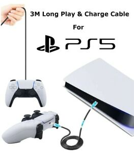 3 Meter Long USB Play and Charge Charging Cable for PS5 PlayStation 5 Controller