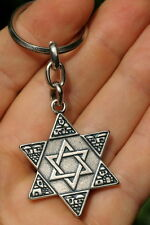 Star of David Magen Keychain Hebrew Jewish Traveller Prayer Jerusalem Key Ring