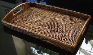 LARGE RATTAN RECTANGLE TRAY WITH HANDLES 49 x 32cm