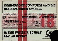 Ticket BL 86/87 FC Bayern München - SV Werder Bremen, Stehplatz Kinder