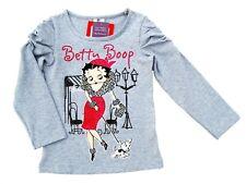Neu! Betty Boop Motiv Stretch Langarmshirt Longsleeve Shirt grau 128