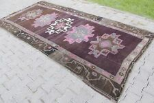 "Vintage Handmade Turkish Oushak Brown Pink Area Rug Carpet 127""x61"""