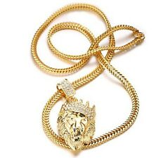 collar de cadena para Hombre moda 18k de oro león colgante regalo de lujo oro