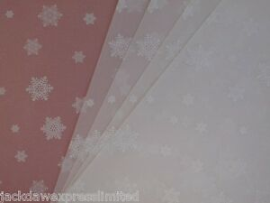 10 x A4 100gsm Printed Translucent Vellum Paper - White Snowflakes AM519