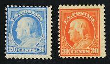 US Sc# 515 & 516 *MINT OG H* { 20c - 30c FRANKLIN } GREAT UN-WMK PERF 11 OF 1918