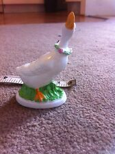 Small bone china white duck with flowers
