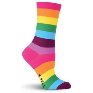 K. Bell Women's 2 pairs Crew Socks Shoe 4-10 RAINBOW STRIPE Shoe Size 9-11 LGBTQ