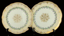Antique Nouveau Sevres Porcelain Purple Iris Flower Gilded Plates Pair France 9""
