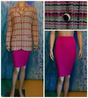 ST. JOHN COLLECTION KNITS PINK Green Jacket Skirt L 14 12 2pc Suit Fringes