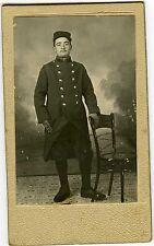 PHOTO CDV un militaire Louis pose guerre 14/18 képi uniforme