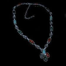 .925 Sterling Silver Turquoise Red Coral Malachite Pearl Linked Flower Necklace