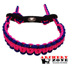PINK & BLUE Bow paracord wrist sling w/ Leather yoke Free Shipping Archery