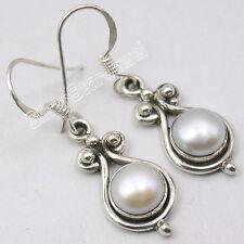 """Girls' Retro Style Earrings 1.3"""" 925 Sterling Silver Fresh Water Pearl"""