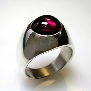 UNIQUE HEAVY CUSTOM MENS RING, W/ A ROUND LAB-GROWN RUBY IN STERLING SILVER