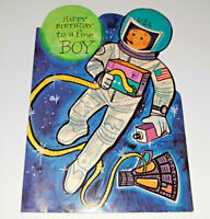 Astronaut Birthday Card Space Boy Capsule USA Die Cut Charm Cratf Mid Century BY