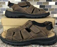 SKECHERS 60395 Leather Slingback Platform Sport Fisherman Sandal Brown Shoes 7