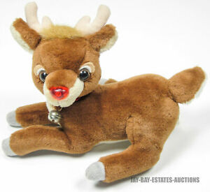 """RARE VINTAGE RUDOLPH THE RED NOSED REINDEER PLUSH STUFFED TOY APPLAUSE 1995 10"""""""