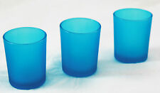 12 Aqua Frosted Glass Tealight Candle Holder Party Event Dinner Decoration NEW