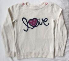 "Gap Pullover Sweater Girls Size 5 EUC Cream w/ Navy ""Love"" & Heart"