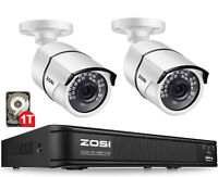 ZOSI H.265+ 8CH DVR 1080P Security Camera 2.0MP CCTV Outdoor Surveillance System