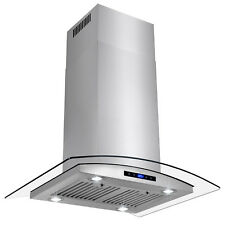 """30"""" Island Mount Stainless Steel Tempered Glass Touch Panel Kitchen Range Hood"""