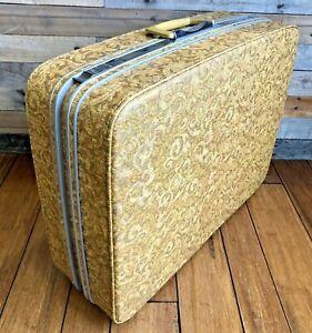"""26"""" Suitcase Samsonite Fashionaire Flower Power 60's Mod Venice Gold Vintage"""
