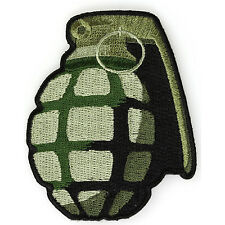 Embroidered Green Grenade Sew or Iron on Patch Biker Patch
