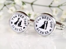The Yes Day The Best Day Quote Personalised Date Groom Cufflinks Wedding Gift