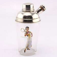 Novelty English Silver Plated Mounted Glass Tennis Player Cocktail Shaker