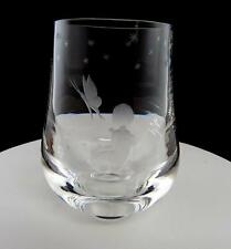"""EKENAS SWEDEN CRYSTAL ETCH SIGNED CHILD & BUTTERFLY 5.25"""" HEAVY PAPERWEIGHT VASE"""