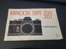 Minolta Sr-T 200 / 201 1975 Camera Instruction Book / Manual / User Guide