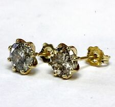 Simulated Diamond Stud Earrings Surrounded by 8 - 9 K Gold Prongs