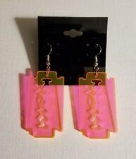 Razor Blade -pink- acrylic earrings