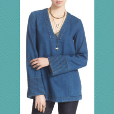 Free People Dreaming of Denim Bell Sleeve Tunic | Women's XS