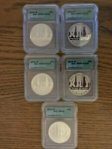 2010-W Disabled Veterans Commemorative Silver Dollar Coins-Five Coins!